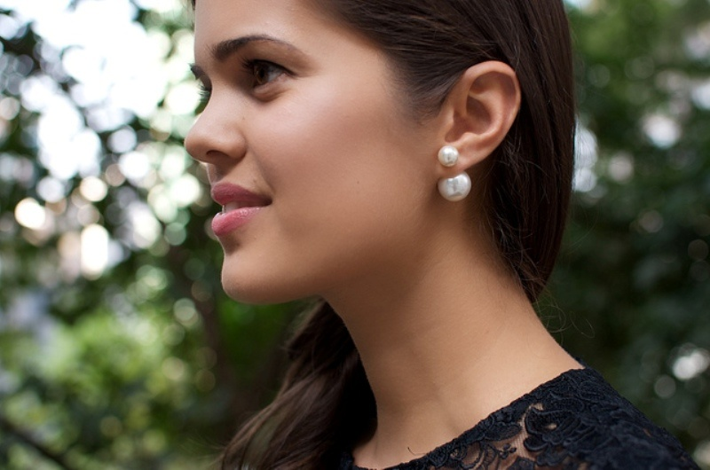 Picture Of dior inspired elegant diy double pearl earrings  10