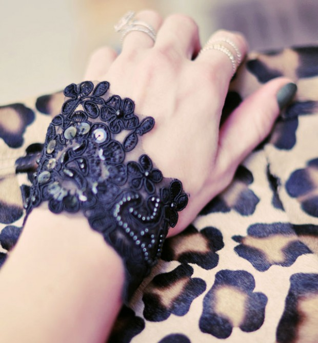 Picture Of diy beaded lace bracelet cuff  5