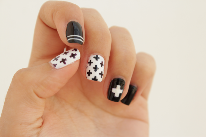 Picture Of diy black and white swiss cross nail art  1