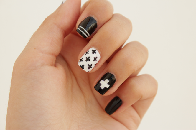 DIY Black And White Swiss Cross Nail Art - DIY Black And White Swiss Cross Nail Art - Styleoholic
