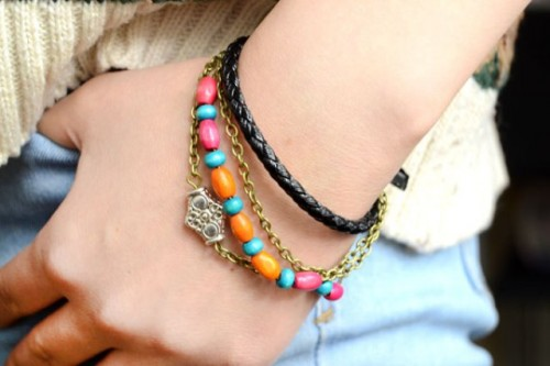 diy boho-chic leather bracelet with beads and chain