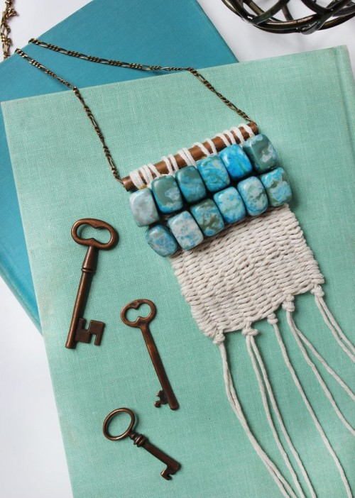 DIY Boho-Inspired Woven Macrame Necklace