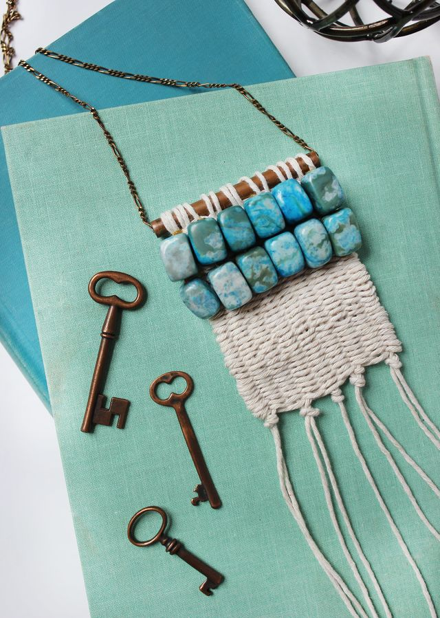 Picture Of diy boho inspired macrame necklace  1