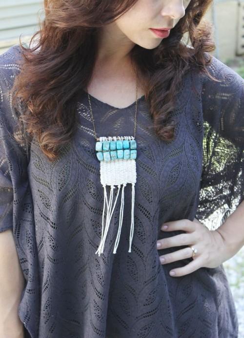 DIY Boho Inspired Woven Macrame Necklace
