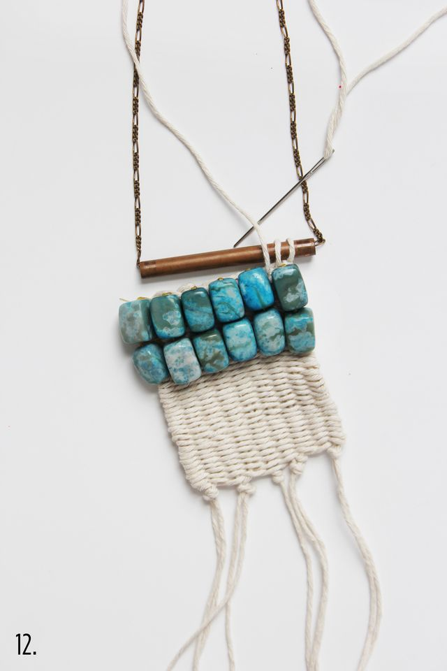 Picture Of diy boho inspired macrame necklace  6