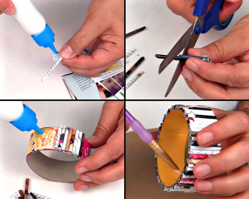 Picture Of diy bold recycled magazine bracelets  6