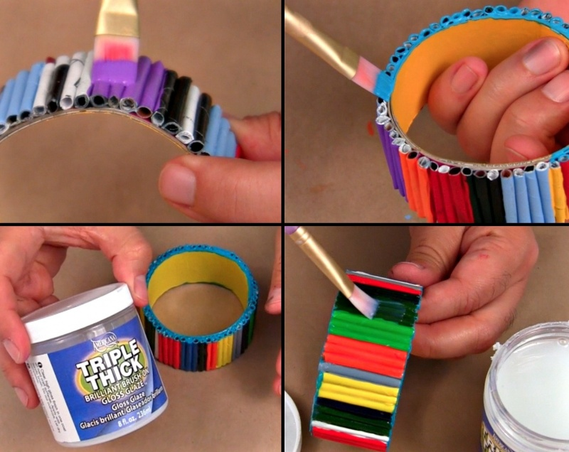 Picture Of diy bold recycled magazine bracelets  7