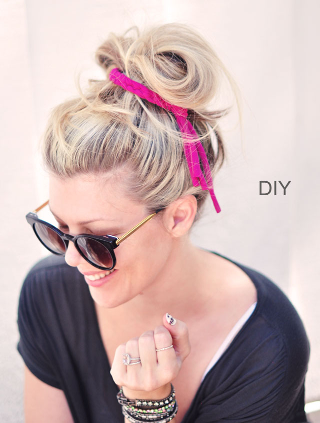 Picture Of diy braided jersey hair tie and bracelet  1