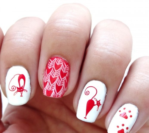 DIY Cat-Inspired Nail Art In Red And White