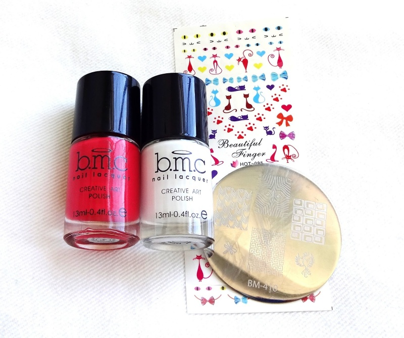 Picture Of diy cat inspired nail art inred and white  2