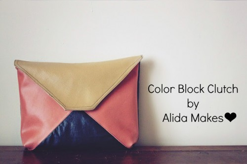 DIY Color Blocked Leather Clutch