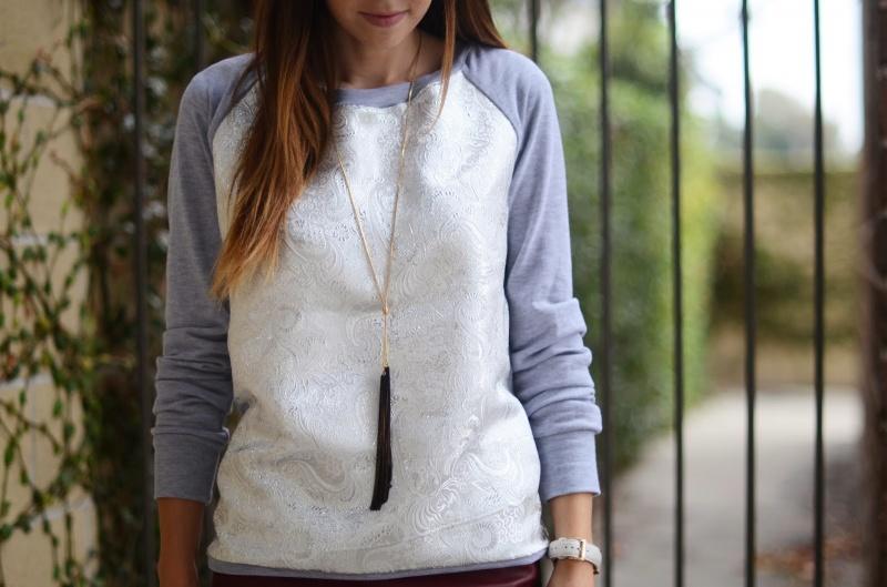 Picture Of diy contrasting raglan sweatshirt refashion  3