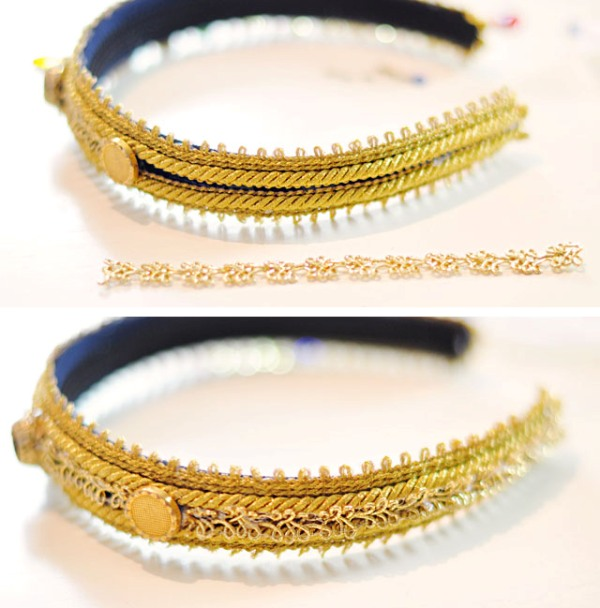 Picture Of diy dolce gabbana inspired bejeweled gold headband  10