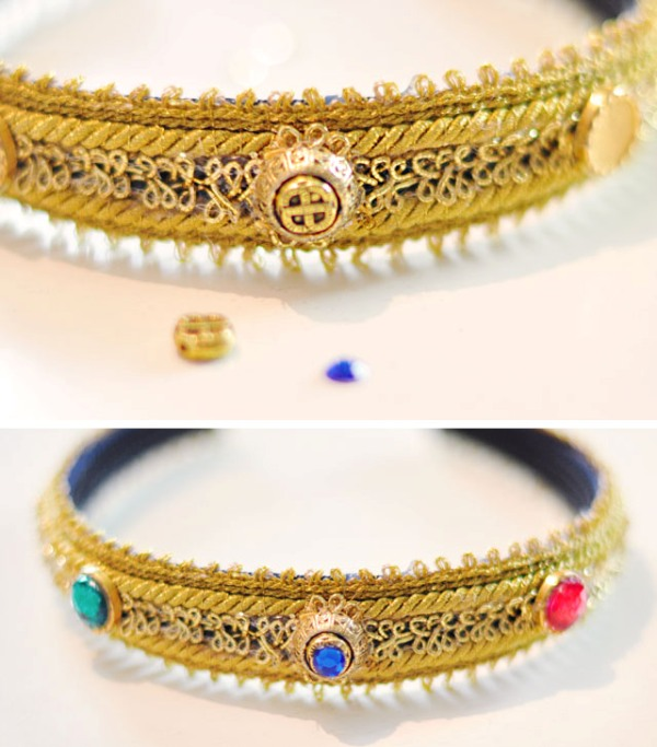 Picture Of diy dolce gabbana inspired bejeweled gold headband  11