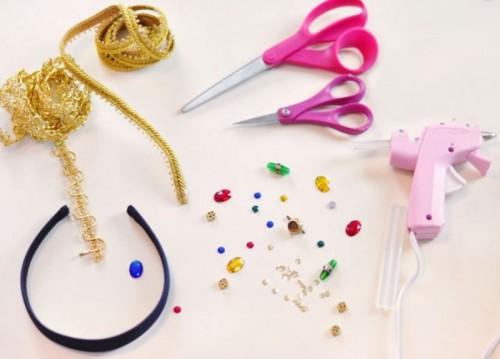 DIY Dolce & Gabbana Inspired Bejeweled Gold Headband