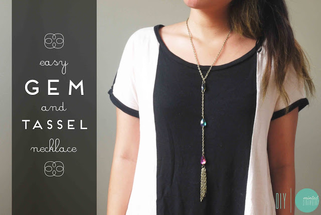 Picture Of diy easy gem and tassel necklace  1