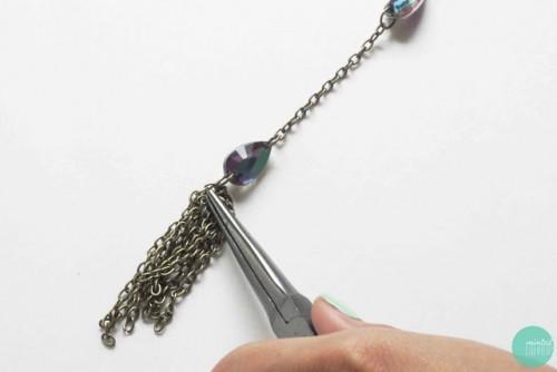 DIY Easy Gem And Tassel Necklace