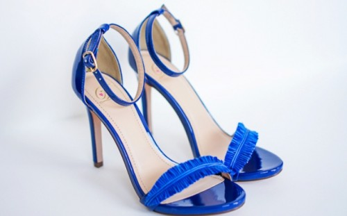 DIY Electric Blue Feather Strap Heels