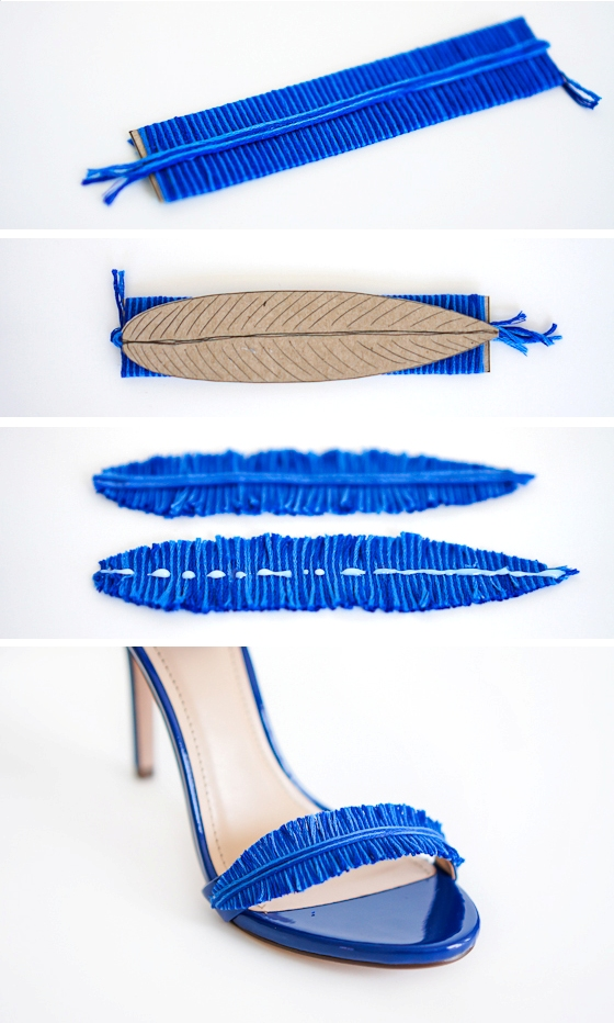 Picture Of diy electric blue feather strap heels  3