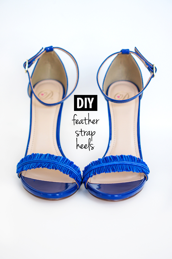 Picture Of diy electric blue feather strap heels  4