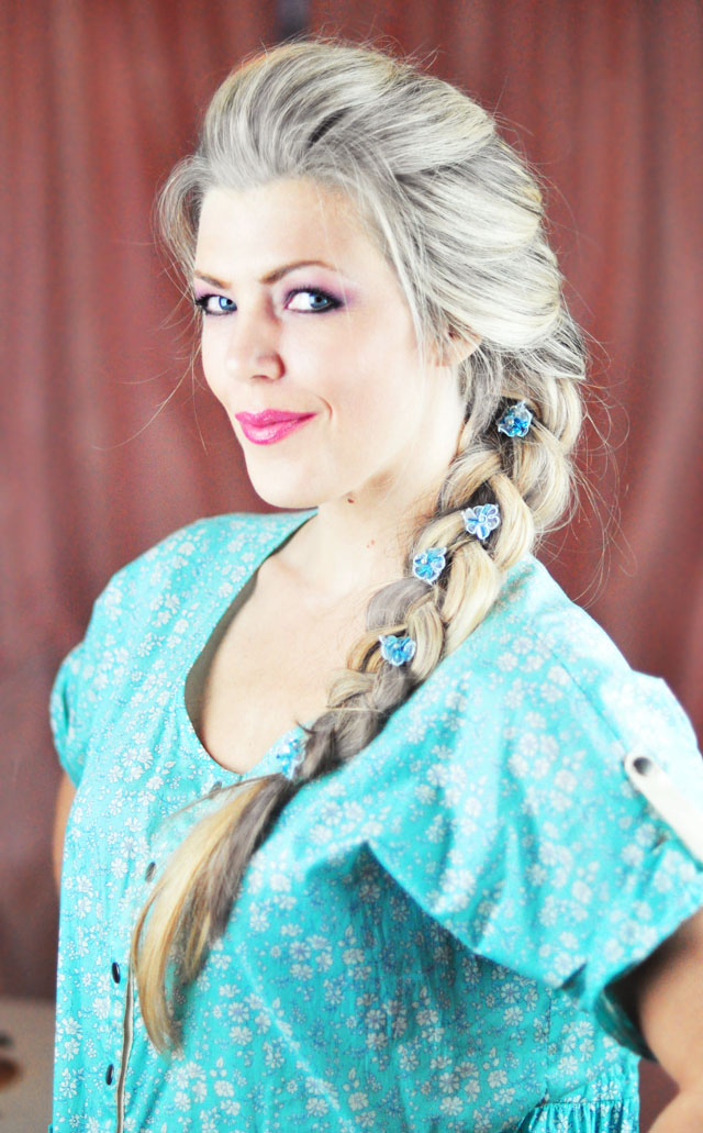 Picture Of diy elsa french braid hairstyle from frozen  1