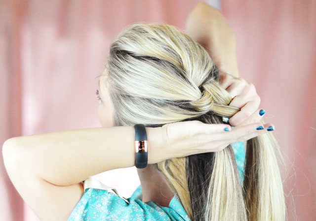 Picture Of diy elsa french braid hairstyle from frozen  3