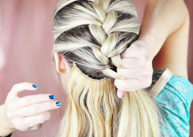 Picture Of diy elsa french braid hairstyle from frozen  4