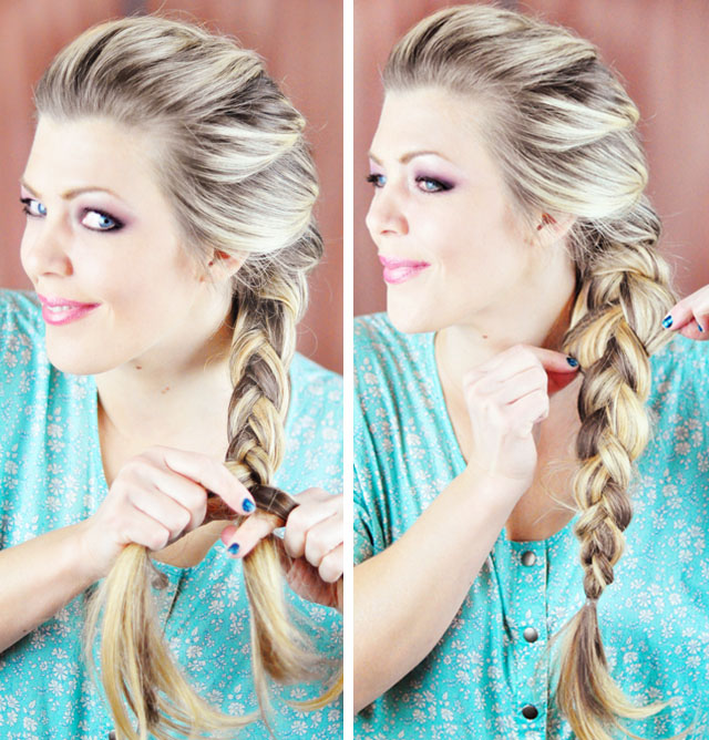 Picture Of diy elsa french braid hairstyle from frozen  5