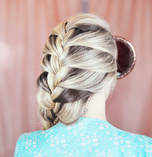 Picture Of diy elsa french braid hairstyle from frozen  6
