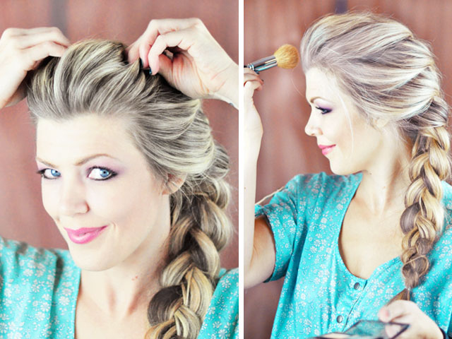 Picture Of diy elsa french braid hairstyle from frozen  7
