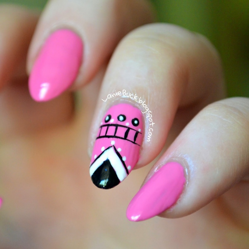 Picture Of diy eye catching manicure with a tribal accent nail  2