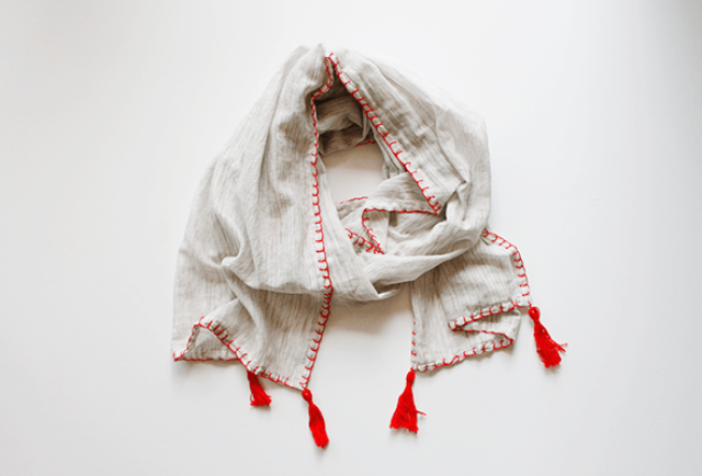 Picture Of diy fall scarf with colorful tassels  1