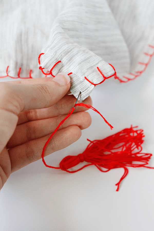Picture Of diy fall scarf with colorful tassels  6
