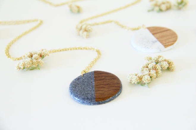 Picture Of diy faux stone and wood pendants  1
