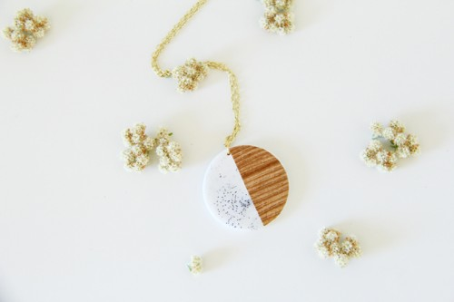 DIY Faux Stone And Wood Pendants