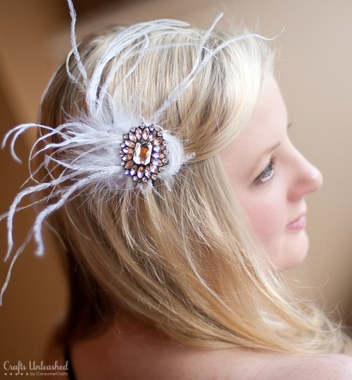 DIY Feather Bling Fascinator
