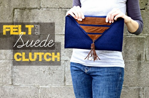 DIY Felt And Suede Clutch
