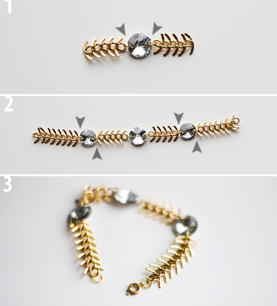 Picture Of diy fishbone chain crystal bracelet  3