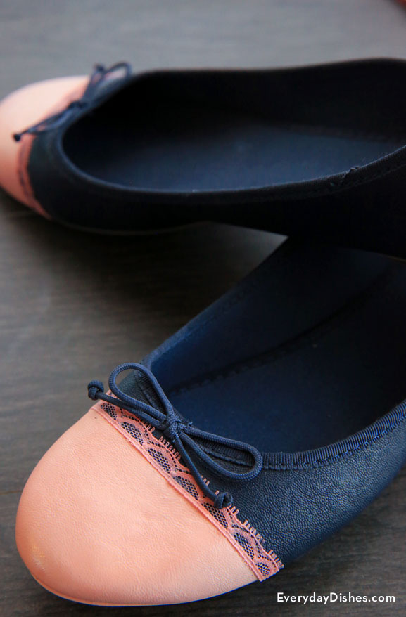 Picture Of diy flats makeover using lace and paint  2