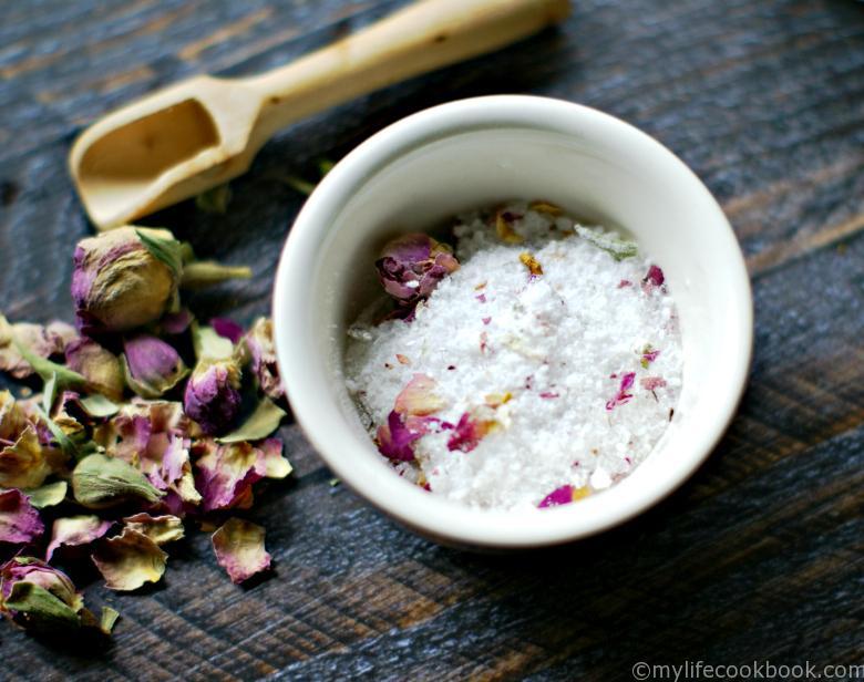 lemongrass, ginger and rose bath salts