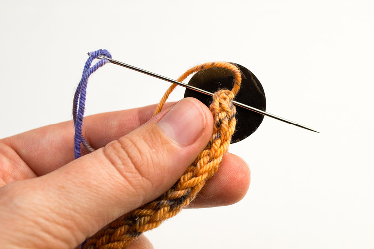 Picture Of diy french knit bracelet with a button  7
