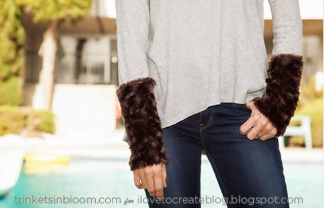 Picture Of diy furry cuffed t shirt for fall and winter  1