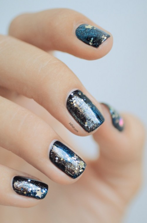 DIY Galaxy-Inspired Glittery Nails Design