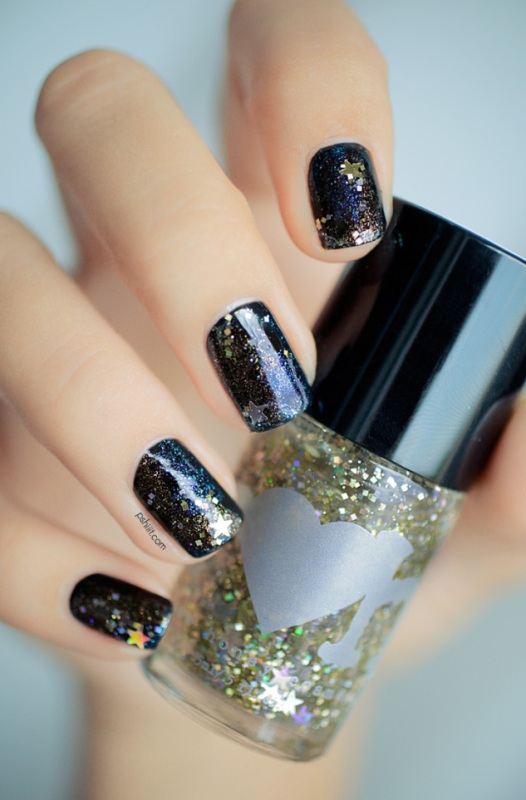 Picture Of diy galaxy inspired glittery nails design  5