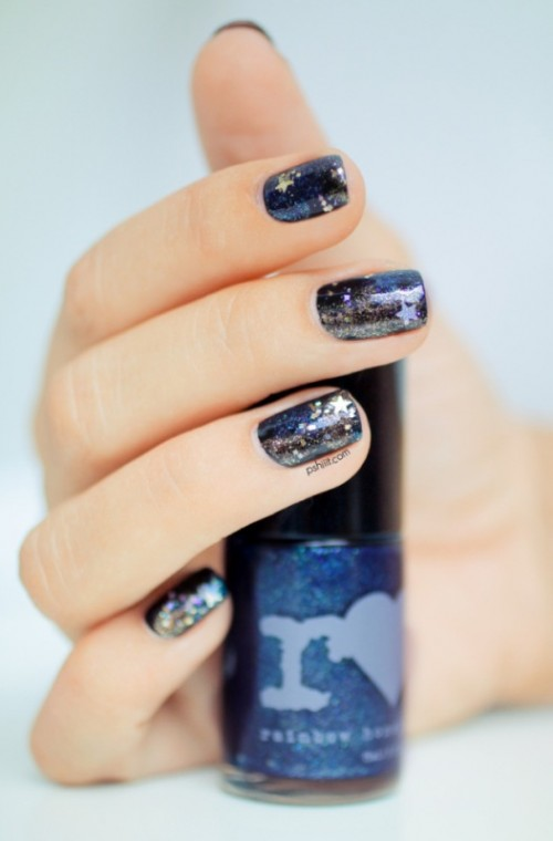 DIY Galaxy Inspired Glittery Nails Design