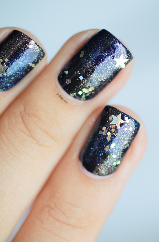 Picture Of diy galaxy inspired glittery nails design  8