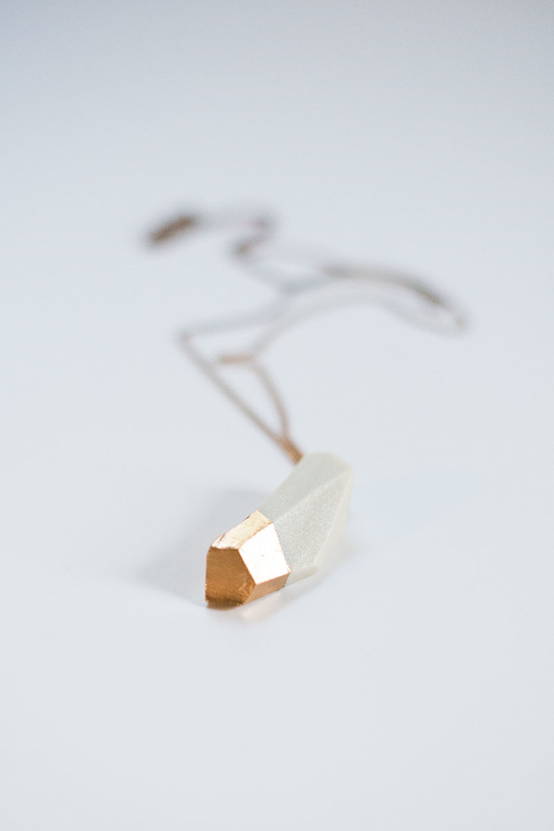 Picture Of diy geometric gilded pendant from clay  1
