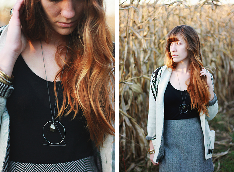 Picture Of diy geometric necklace with various geometric figures  5