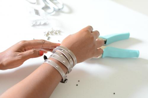 DIY Givenchy Inspired Studded Wrap Bracelet