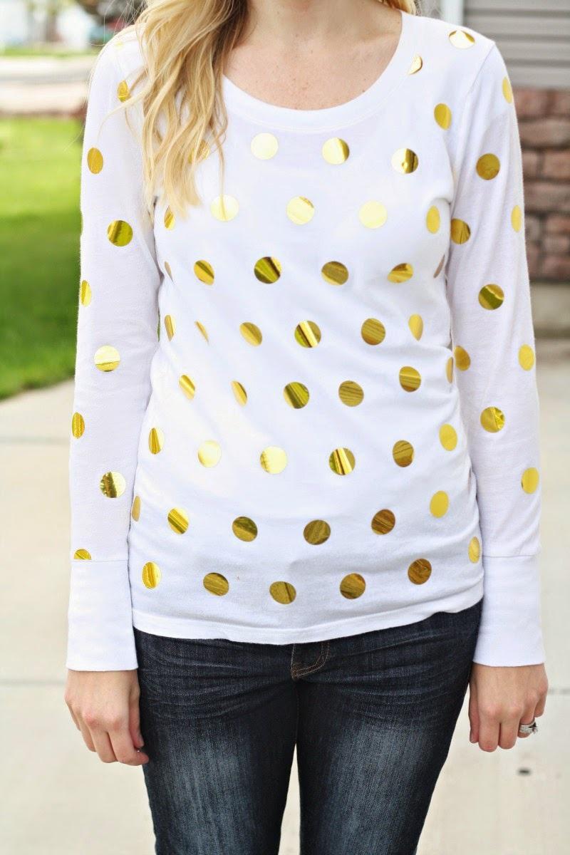 Picture Of diy gold foil polka dot shirt  1